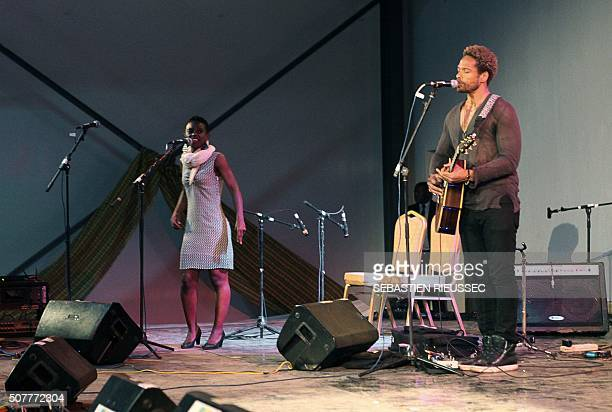A picture taken on January 27 2016 shows US actor and musician Gary Dourdan performing during the Bamako Acoustik Festival in Bamako The Bamako...