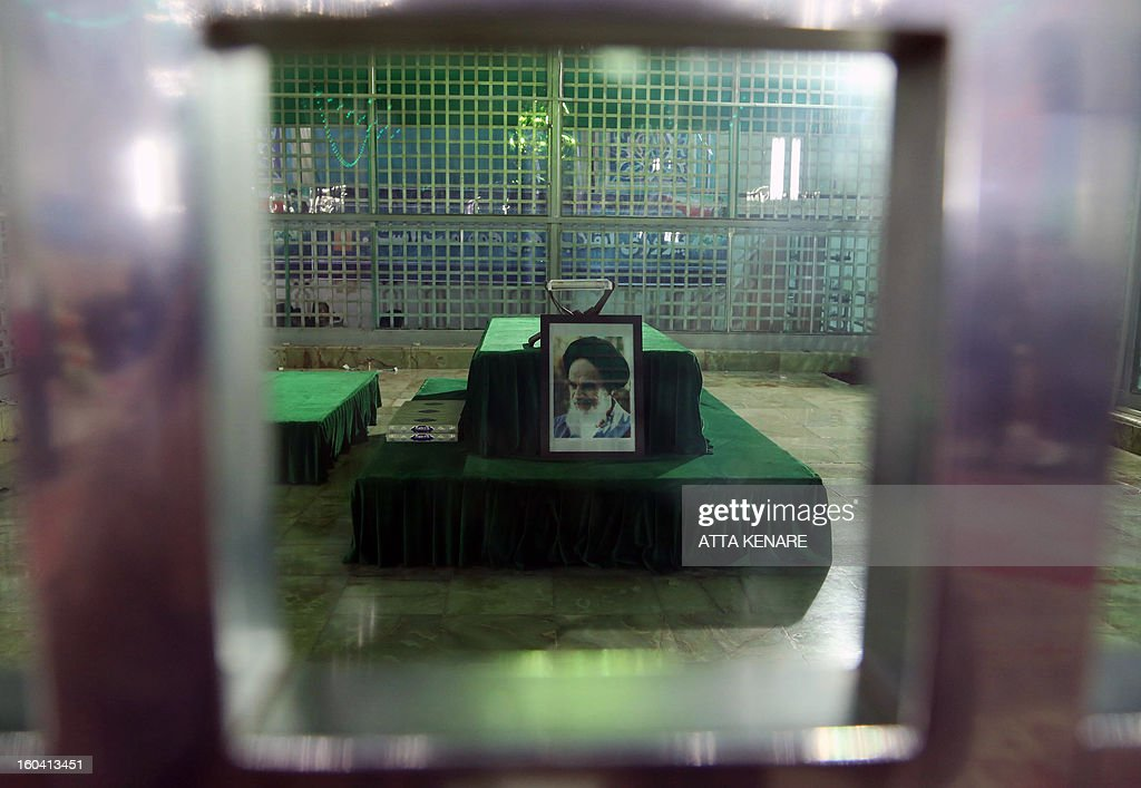 A picture taken on January 31, 2013 at Khomeini's mausoleum in Tehran shows the shrine of the founder of Iran's Islamic Republic, Ayatollah Ruhollah Khomeini during the 34th anniversary of his return from exile. Bells chimed across Iran to mark his return from exile in 1979, the trigger for a revolution which spawned an Islamic state now engulfed in a deep political crisis.
