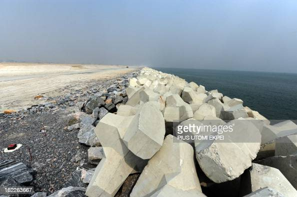Picture taken on January 31 2013 in Lagos of the three and a half kilometre long sea defence barrier called 'The Great Wall of Lagos' built to shield...