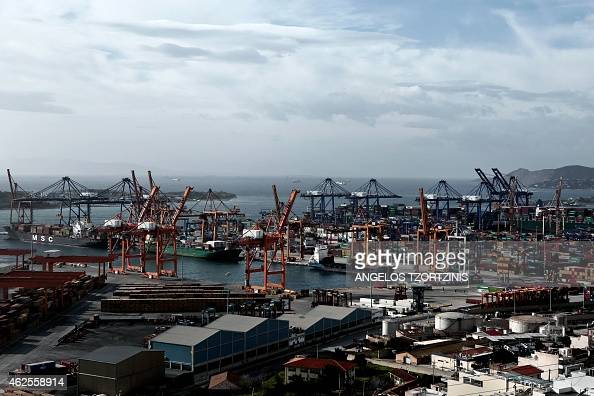 A picture taken on January 31 2015 shows Greece's largest port in Piraeus near Athens Greek Prime Minister Alexis Tsipras' 'national salvation'...