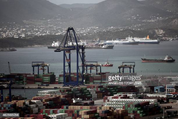 A picture taken on January 31 2015 shows Greece's largest port in Piraeus near Athens Greece's new leftwing government will halt the privatisation of...