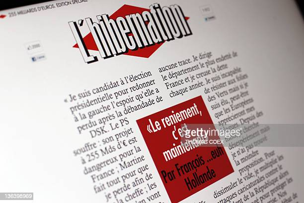 A picture taken on January 4 2012 shows the frontpage of a website designed by the UMP France's rightwing ruling party youth movement 'Les Jeunes...