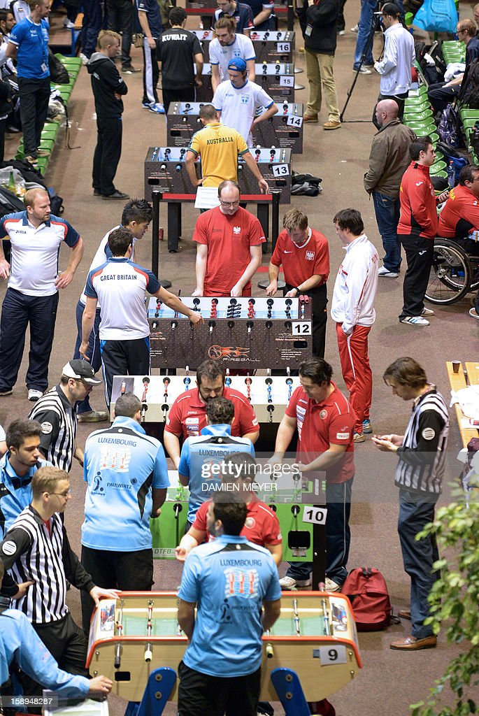 A picture taken on January 4, 2013 shows a general view of the ITSF 2013 table soccer (aka babyfoot) World Cup in Nantes, western France. AFP PHOTO DAMIEN MEYER