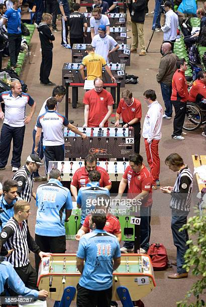 A picture taken on January 4 2013 shows a general view of the ITSF 2013 table soccer World Cup in Nantes western France AFP PHOTO DAMIEN MEYER