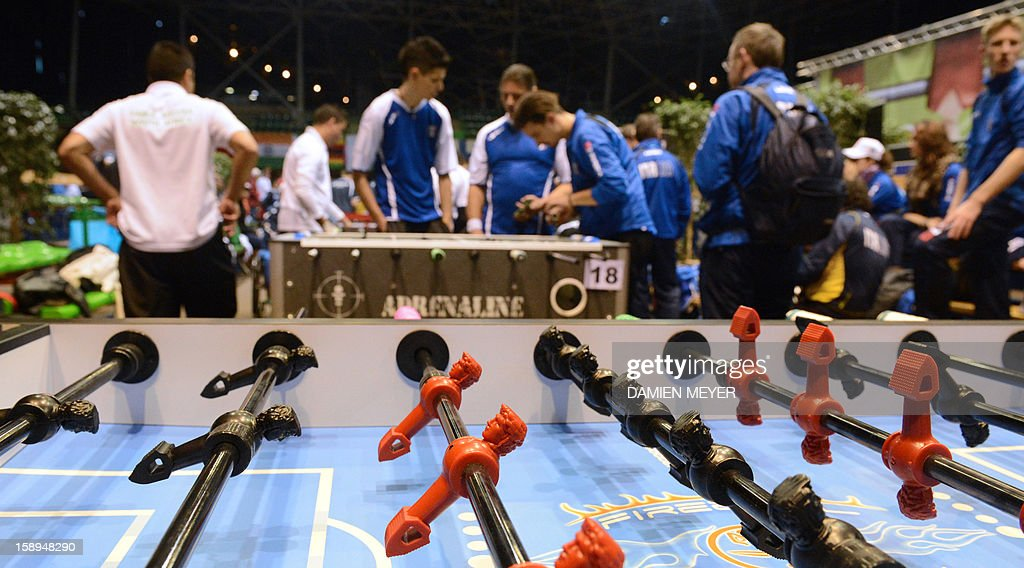 A picture taken on January 4, 2013 shows a general view of the ITSF 2013 table soccer (aka babyfoot) World Cup in Nantes, western France.