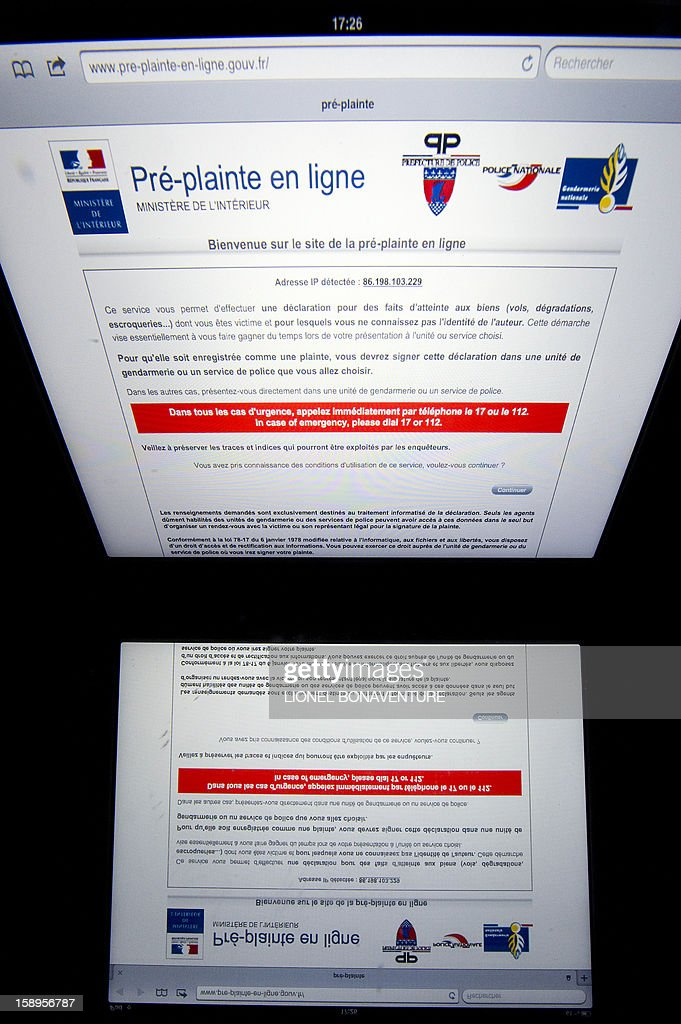 A picture taken on January 4, 2013 shows a web page of the French Interior ministry official website allowing citizens to lodge a complain via internet. This webpage, tested since March 13, 2012 in six departments, will be available everywhere in France from January 7, 2012.
