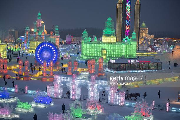 A picture taken on January 4 2015 shows the China Ice and Snow World on the eve of the opening ceremony of the 16th Harbin International Ice and Snow...