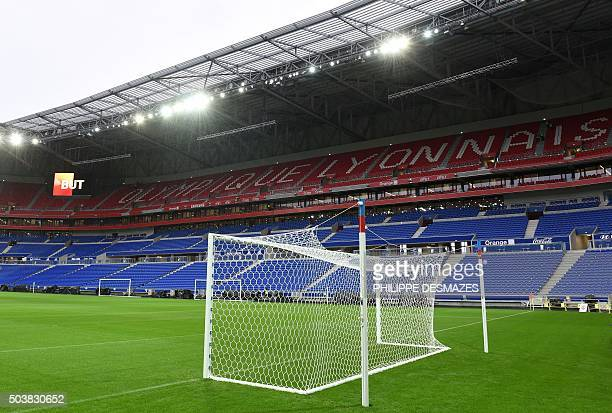 A picture taken on January 7 2016 shows the tribunes and pitch inside the Olympique Lyonnais football club's new stadium Grand Stade de Lyon on...