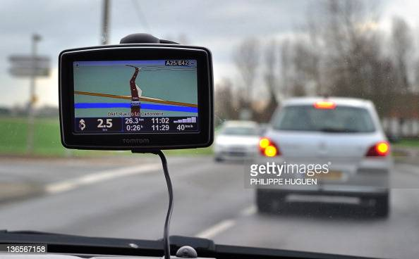 A picture taken on January 8 2011 in Bailleul northern France shows a car using a Global Positioning System on the highway A25 A new law in France...