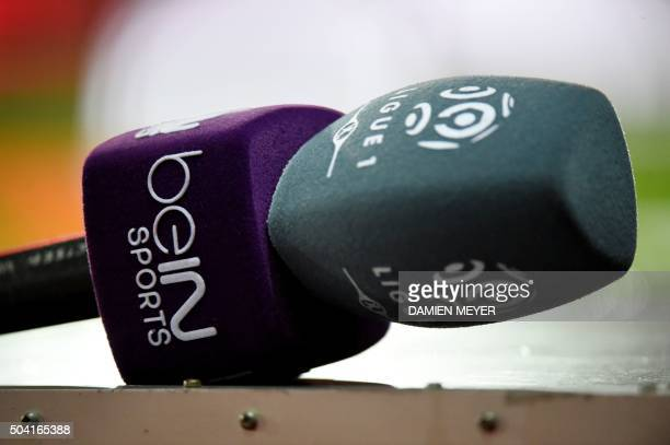 A picture taken on January 9 2016 shows a Bein Sports microphone prior the French L1 football match Rennes against Lorient on January 9 2016 at the...
