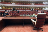 A picture taken on July 1 2014 shows empty seats at the end of the first session of the new parliament in the capital Baghdad Iraq's new parliament...