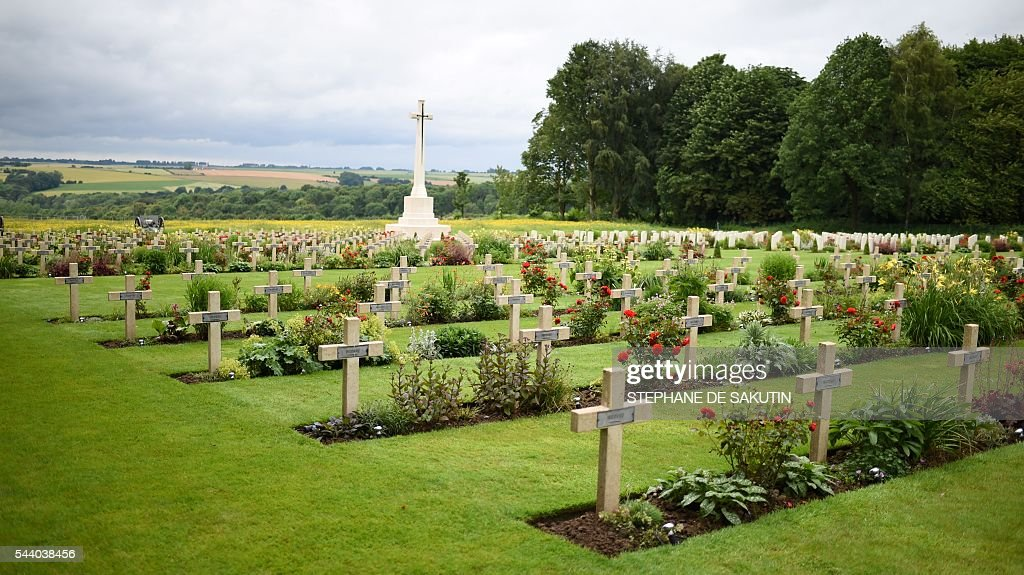 A picture taken on July 1, 2016 shows the Croix du Sacrifice - Cross of the Sacrifice in Thiepval ahead of a memorial ceremony during which Britain and France will mark the 100 years since soldiers emerged from their trenches to begin one of the bloodiest battles of World War I (WWI) at the River Somme. Under grey skies, unlike the clear sunny day that saw the biggest slaughter in British military history a century ago, the commemoration kicked off at the deep Lochnagar crater, created by the blast of mines placed under German positions two minutes before the attack began at 7:30 am on July 1, 1916. / AFP / STEPHANE