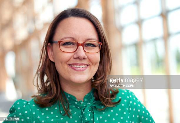 Picture taken on July 10 2013 shows German MP Michelle Muentefering of the Social Democratic Party posing for a photo at the Academy MontCenis in...