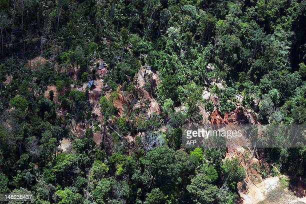A picture taken on July 12 2012 from a helicopter flying over in the Dorlin region in the French overseas territory of Guiana shows an illegal gold...