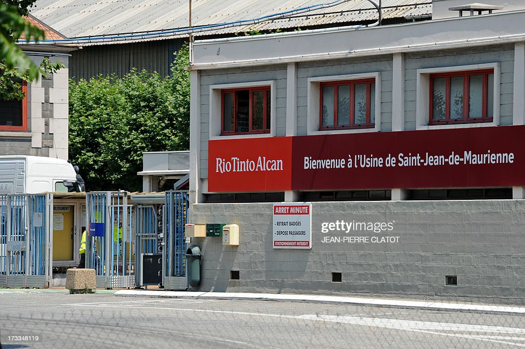 A picture taken on July 12, 2013 shows the entrance of the Rio Tinto Alcan (RTA) aluminum factory in Saint-Jean-de-Maurienne, southeast of France. Heads of Rio Tinto Alcan and Germany's Trimet met today in Paris regarding the take over of RTA by Trimet which could save 510 jobs at the two sites of Saint-Jean-de-Maurienne and Castelsarrasin.