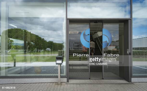 A picture taken on July 13 2017 shows the entrance of the production plant of French multinational pharmaceutical and cosmetics company 'Pierre...
