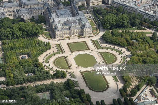 A picture taken on July 14 in Paris shows an aerial view of the Senate the Luxembourg Palace and the Luxembourg Garden / AFP PHOTO / JEANSEBASTIEN...
