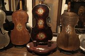 A picture taken on July 15 2016 shows violins which are part of a collection of old violins that were formerly owned by European Jews during the...