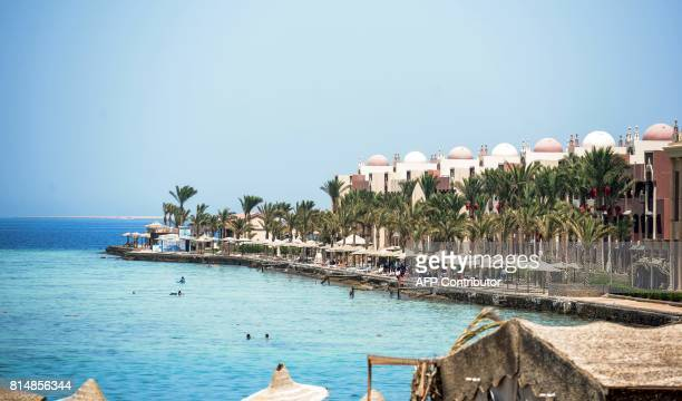 A picture taken on July 15 2017 shows a general view of the Sunny Days Elpalacio beach in the Egyptian Red Sea resort city of Hurghada where an...