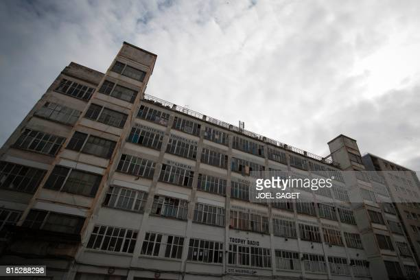 A picture taken on July 15 2017 shows the Cite de Jarry a former industrial building in Vincennes converted into an artistic squat considered to be...