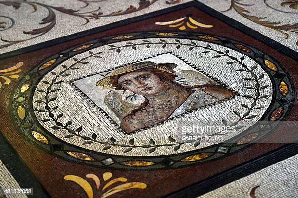 A picture taken on July 17 2015 shows details of a mosaic ordered by Napoleon in the Quirinale Presidential Palace The Quirinale palace built in 1583...