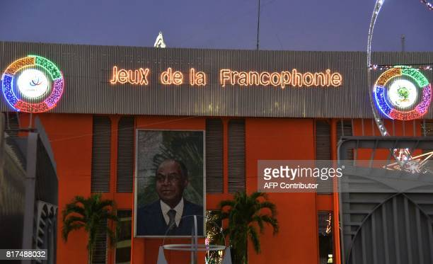 A picture taken on July 17 2017 shows lights set up in front of the Felix HouphouetBoigny stadium in Abidjan ahead of the Jeux de la Francophonie The...
