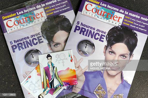 A picture taken on July 22 2010 in Paris shows issues of French weekly newspaper Courrier International distributed with US singer Prince's new album...