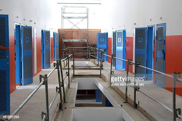 A picture taken on July 22 2015 shows the unfinished new wing of the Ducos Prison on the Caribbean island of Martinique during a visit by France's...