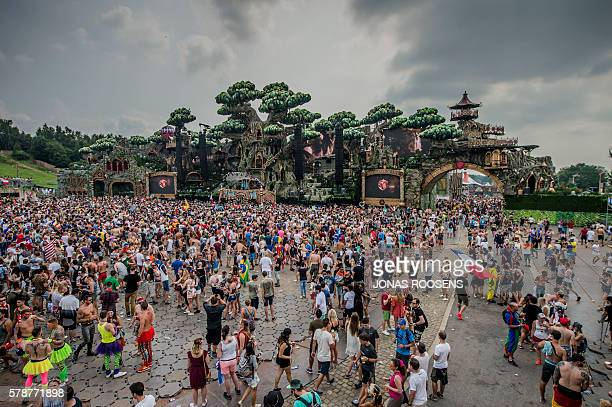 A picture taken on July 22 2016 shows the first day of the 12th edition of the Tomorrowland electronic music festival at the De Schorre park in Boom...