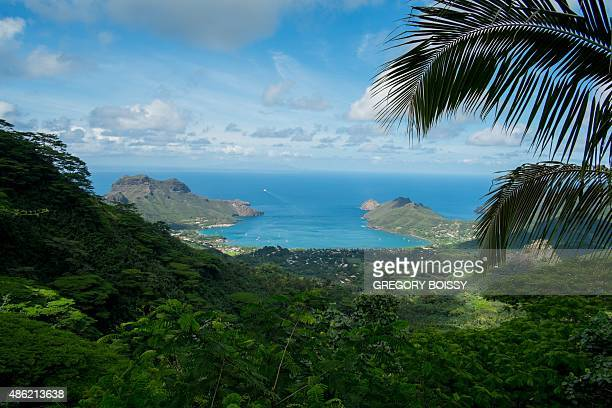A picture taken on July 27 2015 shows the Nuku Hiva island part of the Marquesas Islands In 2010 the mayor of a French Polynesia atoll worried by the...
