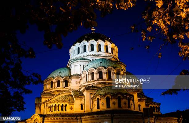 A picture taken on July 27 2017 in the Bulgarian capital Sofia shows a view of St Alexander Nevski Orthodox Cathedral with its golden dome / AFP...