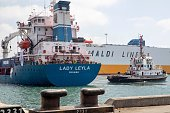 A picture taken on July 3 2016 shows a general cargo ship named Lady Leyla arriving to the Israeli southern port of Ashdod The Lady Leyla ship left...