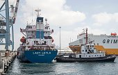 A picture taken on July 3 2016 shows Lady Leyla a humanitarian aid ship sent from Turkey to the Gaza Strip docked at the Israeli southern port of...