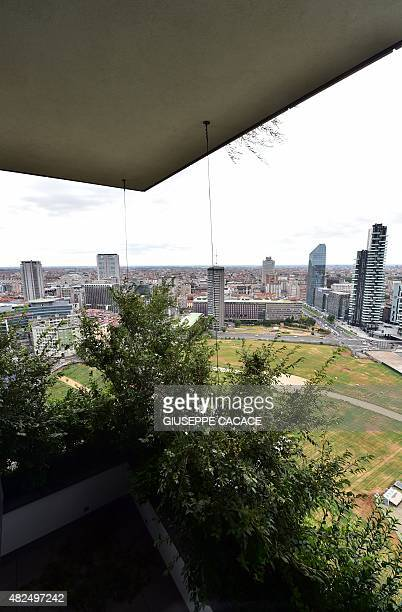 A picture taken on July 31 2015 shows a terrace of one of the apartments inside the Bosco Verticale towers builded by Hines as part of Residenze...