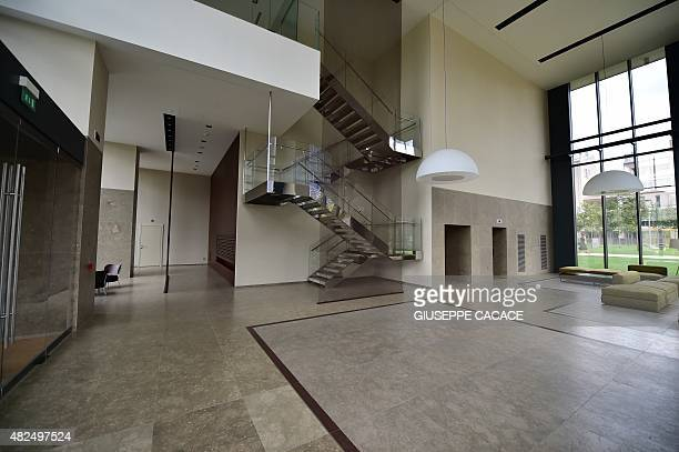 A picture taken on July 31 2015 shows the foyer inside the Bosco Verticale towers builded by Hines as part of Residenze Porta Nuova area in Milan The...