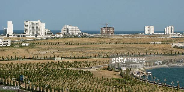 A picture taken on July 4 shows a general view of the Turkmenistan's new Caspian Sea resort of Avaza Bordering Iran and Afghanistan the energyrich...