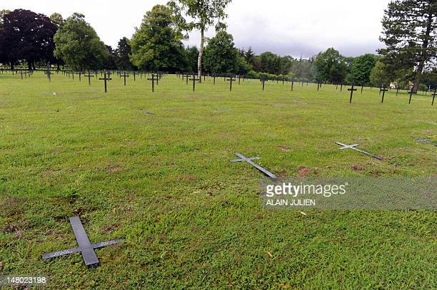 A picture taken on July 8 2012 shows a view of the cemetery where forty graves were desecrated in SaintEtienneaArnes near Reims Forty graves were...