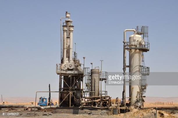 A picture taken on July 9 2017 shows Syria's Arak gas field 35 kilometres northeast of the ancient city of Palmyra in the central province of Homs a...