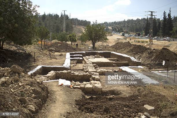 A picture taken on June 10 2015 shows a general view of an ancient Byzantine church dating from 1500 years ago discovered during an archaeological...