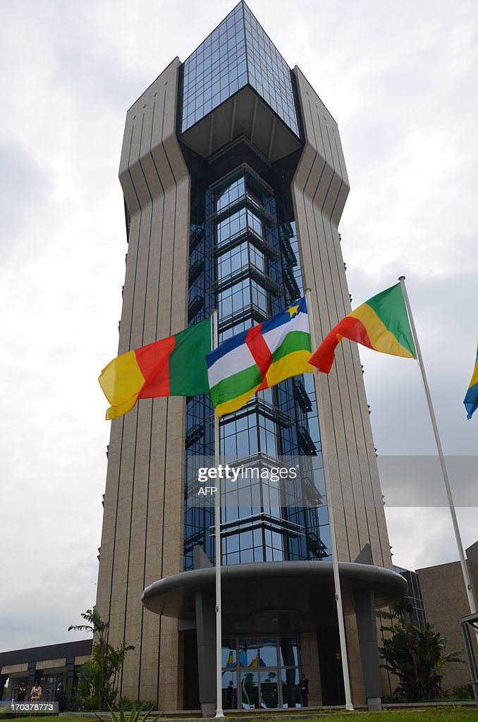 Picture taken on June 12 2013 in Libreville of the new headquarters building of the economic and monetary community of Central Africa the day of its...