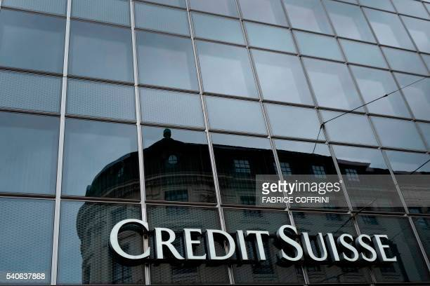 A picture taken on June 13 2016 shows a branch of Swiss banking giant Credit Suisse in Basel / AFP / FABRICE COFFRINI