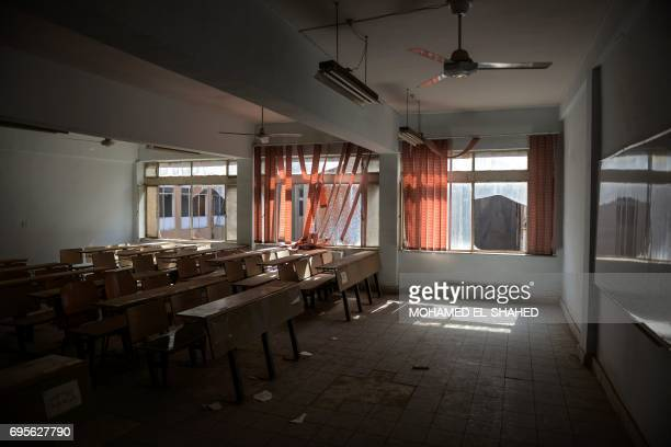 A picture taken on June 13 2017 shows a general view of a classroom at the University of Mosul Amid buildings destroyed by heavy fighting University...