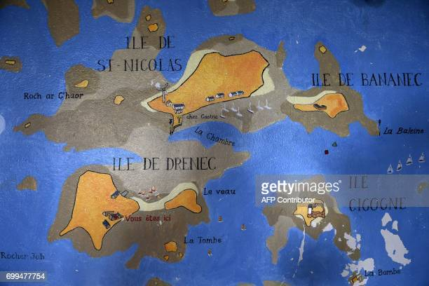 A picture taken on June 13 2017 shows a map at Les Glenans sailing school in Les Glenans Fouesnant western France in the sailing school Seventy years...