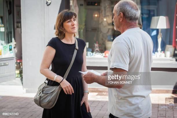A picture taken on June 13 shows Sandra Marsaud urbanist municipal councilor of SaintMemelesCarrieres and French La Republique En Marche party...
