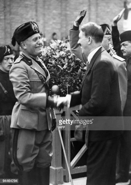 A picture taken on June 14 1934 in Venice shows German Chancellor and Nazi Dictator Adolf Hitler shaking hands with Italian dictator Benito Mussolini...