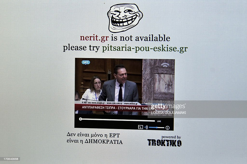 Picture taken on June 14, 2013 shows the bloggers site nerit. gr, transmitting the state broadcaster ERT's online footage with the Greek finance minister Yiannis Stournaras speaking at the parliament , which is being aired independently after the station was shut down by the government last Tuesday to save money . A Greek blog on Friday said it had registered the domain name nerit.gr -- the initials of the new organisation which is intended to replace ERT -- in a taunt to the conservative-led Greek government. AFP PHOTO/ LOUISA GOULIAMAKI