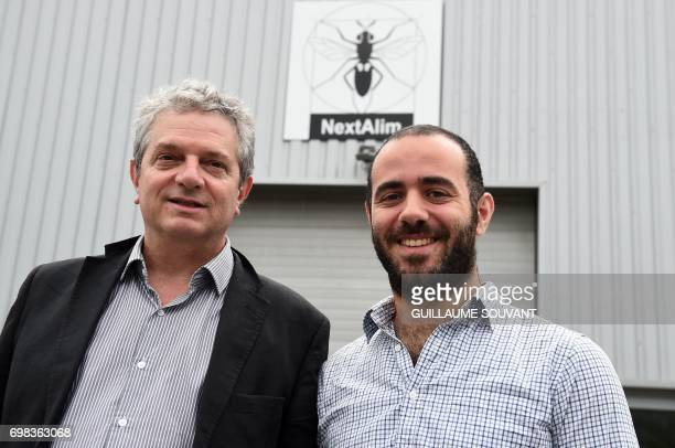 A picture taken on June 14 2017 shows cofounders of the Nextalim company JeanFrancois Kleinfinger and Raphael Smia posing at the company's...