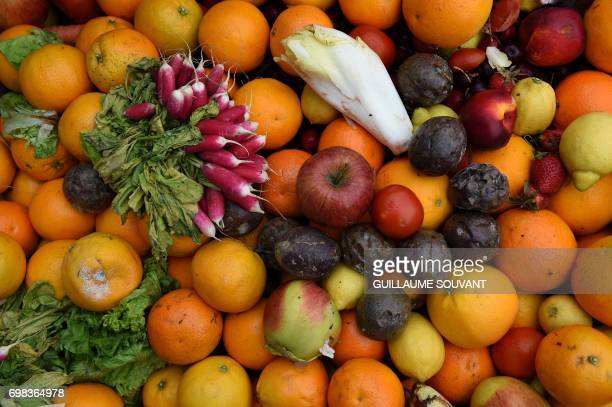 A picture taken on June 14 2017 shows fruits and vegetable to be used for biowaste at the NextAlim company at its headquarters in Poitiers NextAlim a...