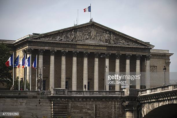 A picture taken on June 15 2015 in Paris shows the Palais Bourbon seat of the French National Assembly AFP PHOTO / JOEL SAGET / AFP PHOTO / Joël SAGET