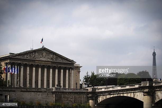 A picture taken on June 15 2015 in Paris shows the Palais Bourbon seat of the French National Assembly and the Eiffel tower AFP PHOTO / JOEL SAGET /...